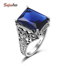 Szjinao Square Ocean Sappihre Magical Engraver Ring Fashion Gift Women Rings Real 925 Solid Sterling Silver Jewelry