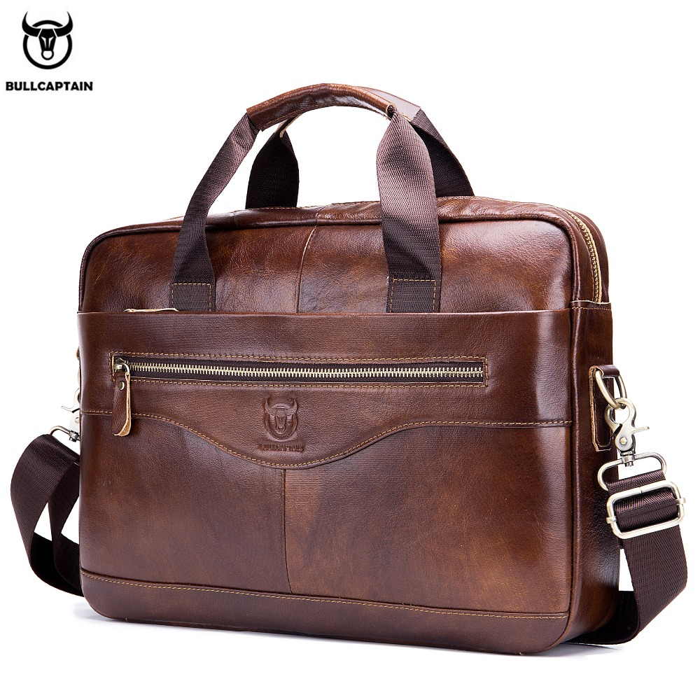 BULLCAPTAIN 2019 New Fashion cowhide male commercial briefcase Real Leather vintage men s messenger bag casual