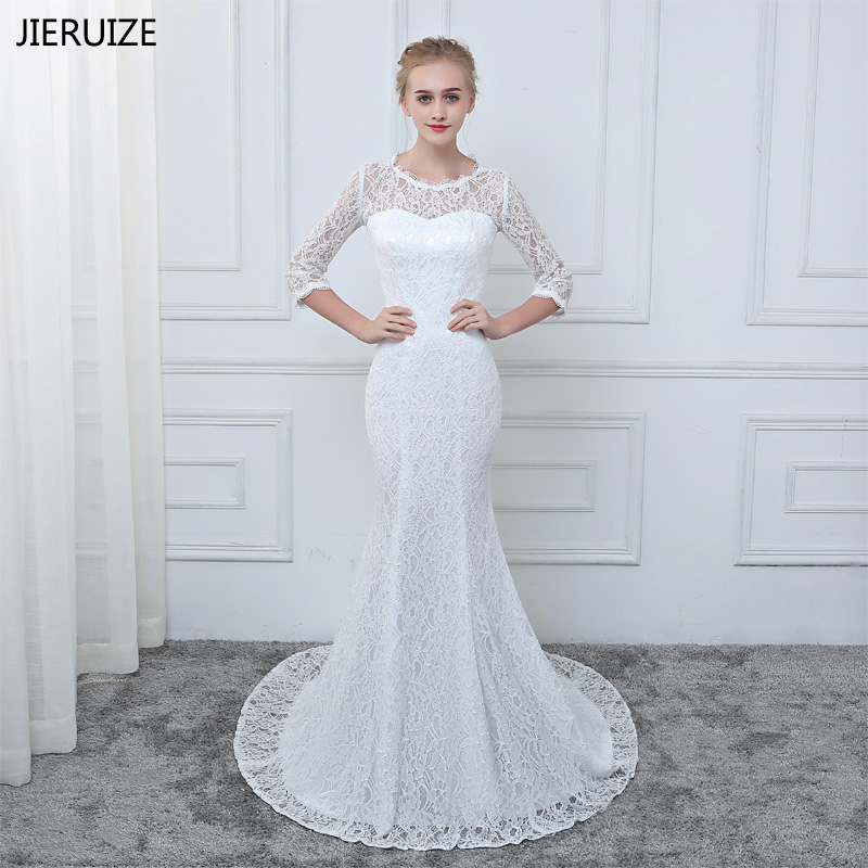 JIERUIZE White Lace Mermaid Wedding Dresses 3/4 Sleeves Cheap Wedding Gowns Robe De Mariee Vestido De Novia