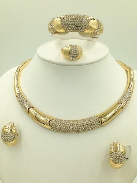 2016 Moda Nupcial Conjuntos de Jóias de Casamento Nigeriano Beads Africanos Set Jóias Cristal Dubai Banhado A Ouro Conjuntos de Jóias de Casamento