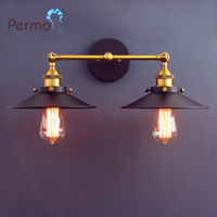 Permo Modern Loft Metal Double Heads Wall Light Retro Brass Wall Lamp Country Style E27 Edison Sconce Lamp Fixtures 110 240V