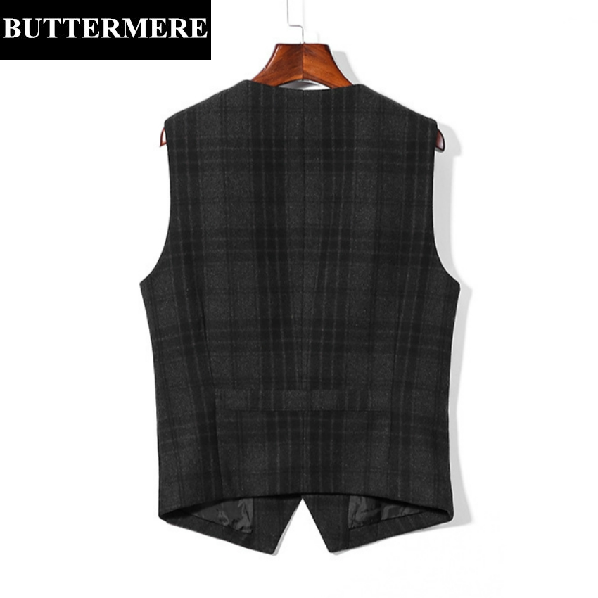 BUTTERMERE Brand Clothing Vest Mens Plaid Suit Vest Fashion Designer Casual Waistcoat Wool Jacket Sleeveless Blazer Grey Gilet