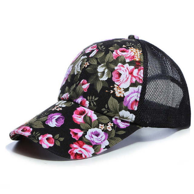 24508926f Sunscreen Rose Floral Print Baseball Cap For Women Men Sport Mesh Caps  Breathable Casual Golf Hats Snapback Hat dropshipping