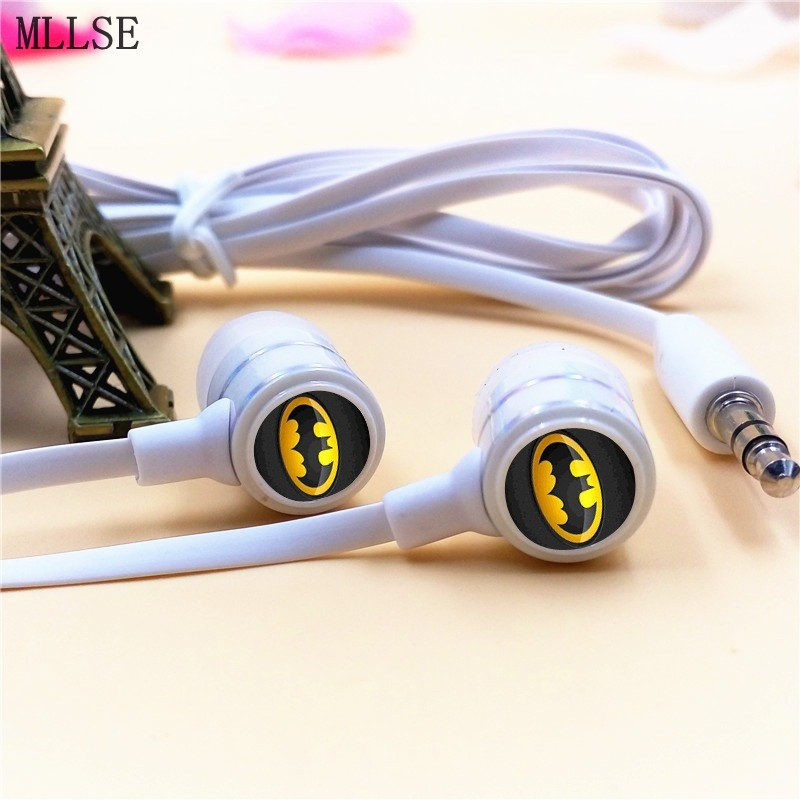 MLLSE Anime Batman Cartoon In-ear Earphones 3.5mm Stereo Earbuds Phone Music Sport Game Headset for Iphone Samsung MP3 MP4 cute cartoon cat claw style in ear earphones for mp3 mp4 more blue white 3 5mm plug