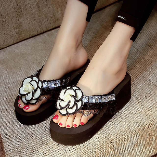 8f705df4f52b Kamelia klapki kobieta koronki kwiat platformy kliny sandały wysoki obcas  buty kobiety plac kryształ studded zapatos