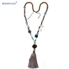 Ожерелье с кулоном в этническом стиле длинная цепочка хлопковой