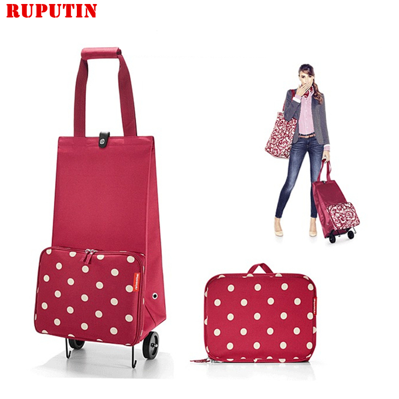 RUPUTIN Folding Shopping Bag Shopping Cart On Wheels Bag Small Pull Cart Women Buy Vegetables Bag Shopping Organizer Tug Package