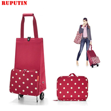 RUPUTIN Folding Shopping Bag Cart On Wheels Small Pull Women Buy Vegetables Organizer Tug Package