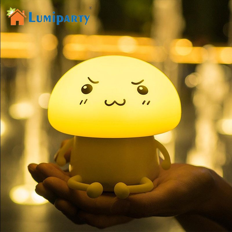 LumiParty USB Charging Cartoon Mushroom Pets Silica Gel Atmosphere Night Lamp LED Touch Light