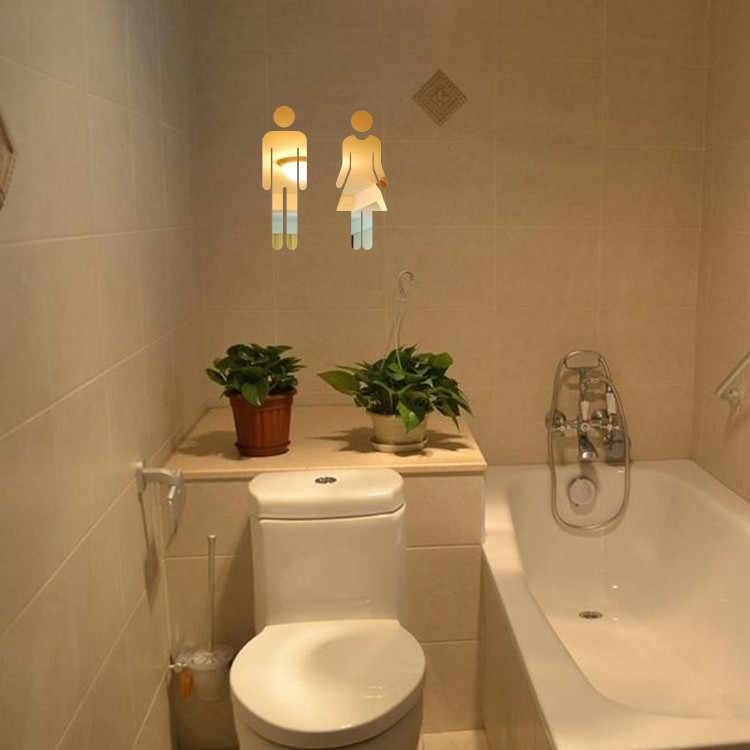 Объемная Зеркальная Наклейка Забавный Туалет дверь в Туалет знак входа для мужчин и женщин Ванная комната DIY стикер на стену s Муро Декор на стену зеркало стикер на стену s