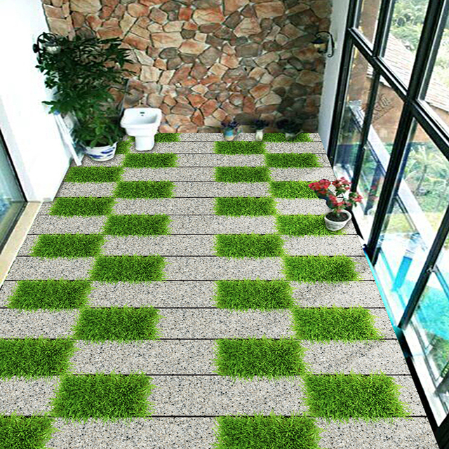 Custom Photo Wall Paper 3d Bluestone Path Floor Tiles Murals Sticker
