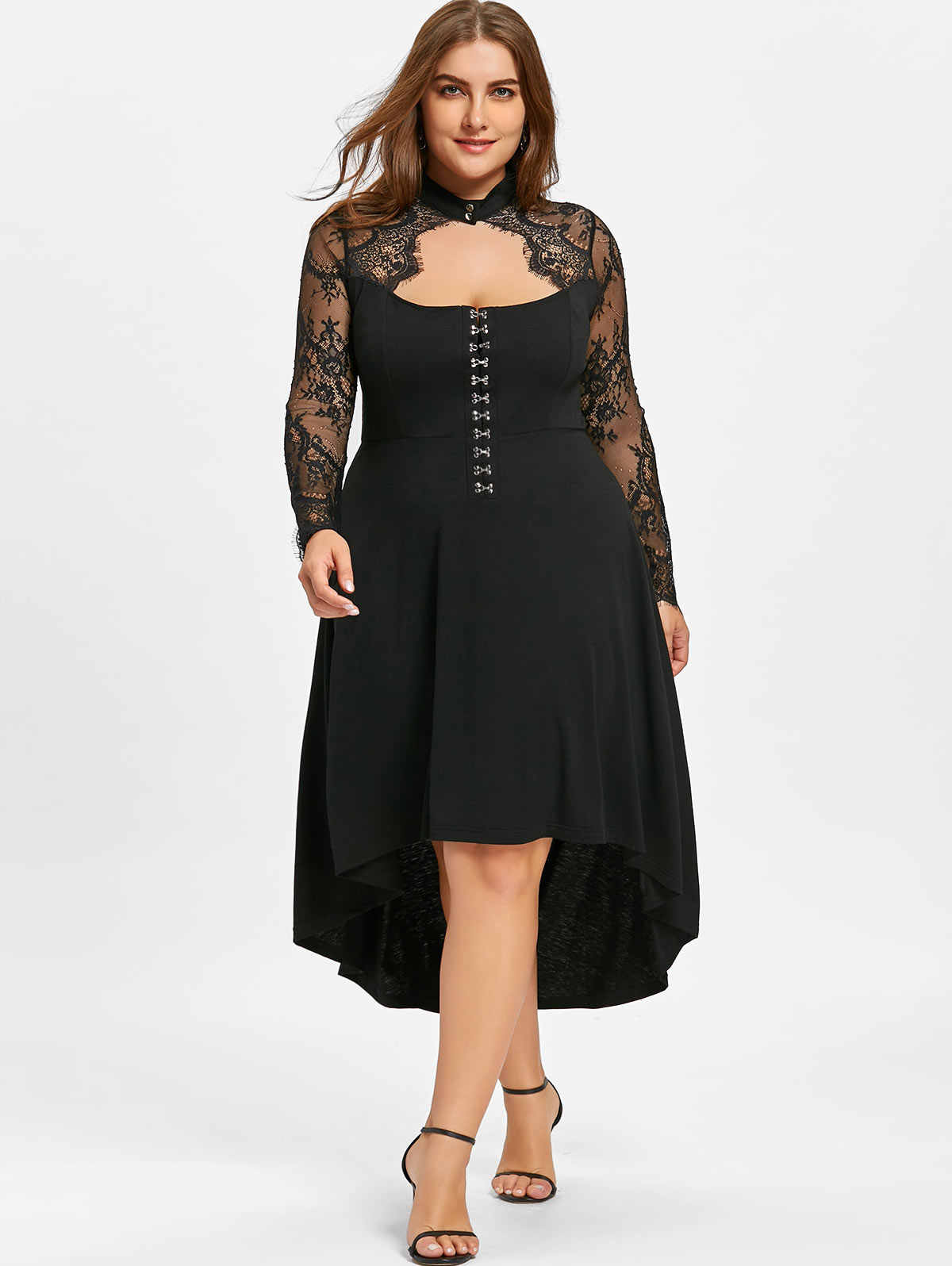 Wipalo Women Spring Lace Up Dip Hem Keyhole Dress Gothic Mock Neck Long Sleeves Party Elegant Dresses Vestidos Plus Size XL-5XL