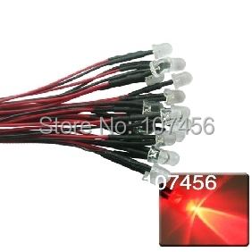 50pcs 10mm red LED Lamp Light Set 20cm Pre-Wired 24V free shipping