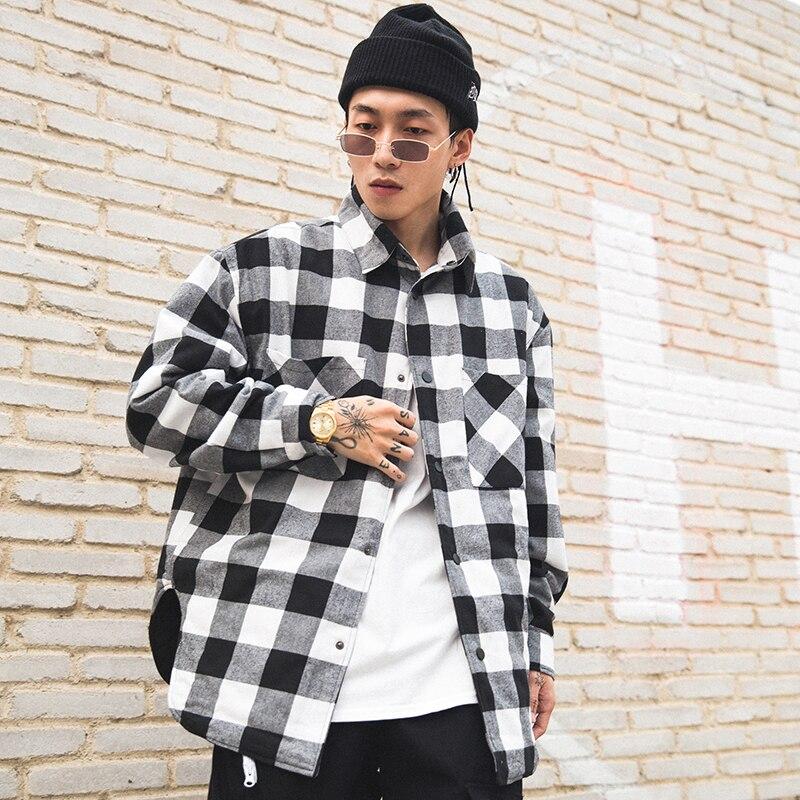 Vermelho preto xadrez acolchoado camisa de algodão dos homens 2019 vintage hip hop mais grosso tartan manga longa camisa alta rua solta roupas - 2