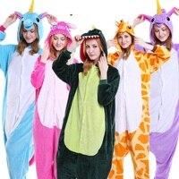 Wholesale Winter Cartoon Animal Stitch Zebra Cows Eeyore Pajamas Adult Unisex Flannel Hooded Pajamas Sleepwear For