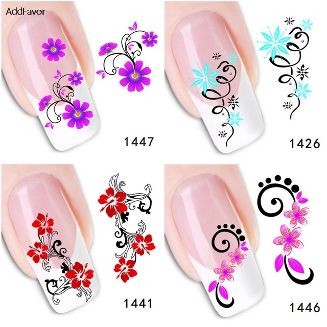 US $3.06 |AddFavor 6PCS Custom Nail Art Decoration Green Scarlet Flower  Nail Art Adhesive Decal Makeup Tools Foil Manicure Beauty Sticker-in  Stickers ...
