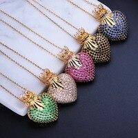 Оптовая продажа винтажные любовные сердца форма полный кубический цирконий кулон ожерелья модные ювелирные изделия