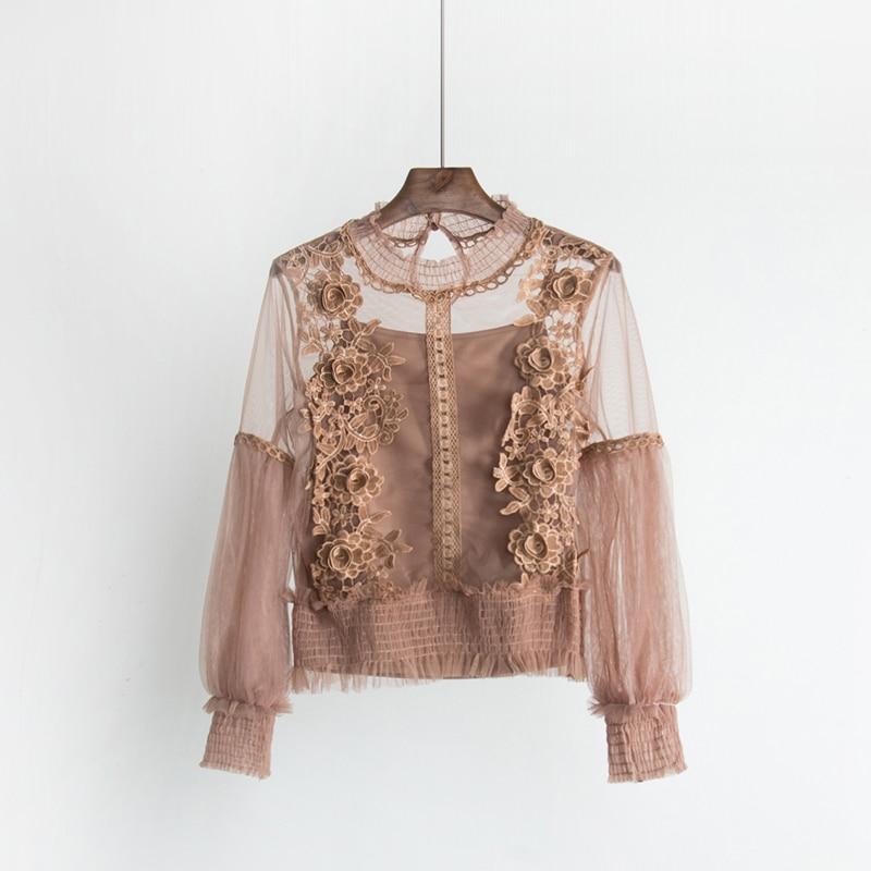 2018 Sweet Long Lantern Sleeve Transparent Hollow Out Mesh Blouses Women Two Pcs Set 3D Flower Mesh Shirts Sweet Flower Mesh Top 3