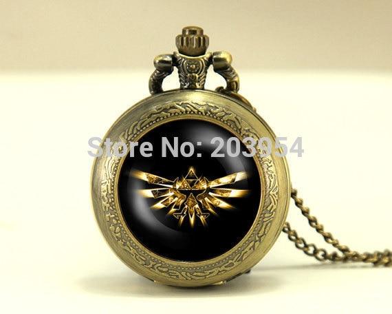 Movie Zelda Hyrule Crest Pocket Watch 1pcs/lot locket necklace legend of Zelda vintage Pendant fashion jewelry steampunk 2017