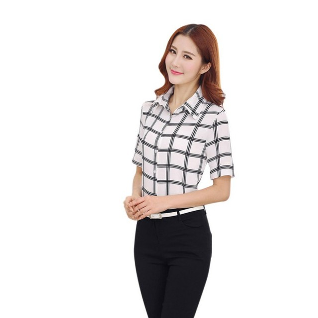 4179a3b67cdeb7 Women Tops Blouse Short Sleeve Black and White Plaid Shirt Casual Shirt  Ropa Mujer Blusas Feminino Plus Size