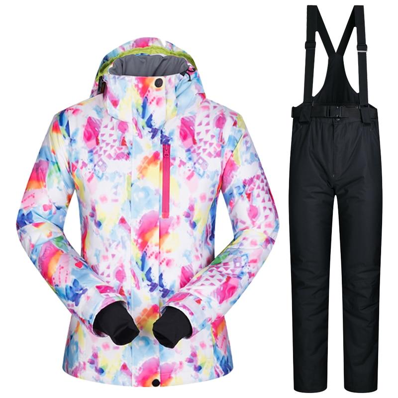 Femmes combinaison de Ski marques nouveau imperméable respirant chaud ensemble veste de Ski et pantalon de neige hiver Snowboard costumes femmes veste d'hiver