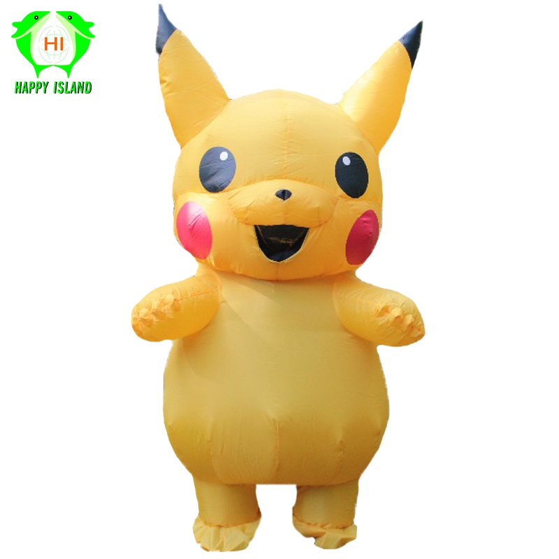 2019 Adult Pikachu Inflatable Costumes Men Halloween Cosplay Costume Outfit Women Blow up Mascot Funny Costumes Jumpsuit