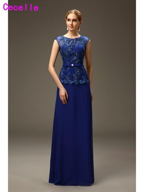 2e60bbdc82d4 Royal Blue A-line Lungo madre della Sposa Sposo Abiti Da Sera Per La  Cerimonia