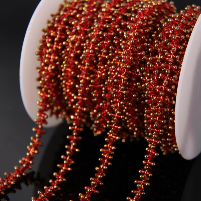 5Meter/sell plated Brass Wire Wrapped Chain,Red Cube Beads Rosary style Chain Necklace bracelet Jewelry making