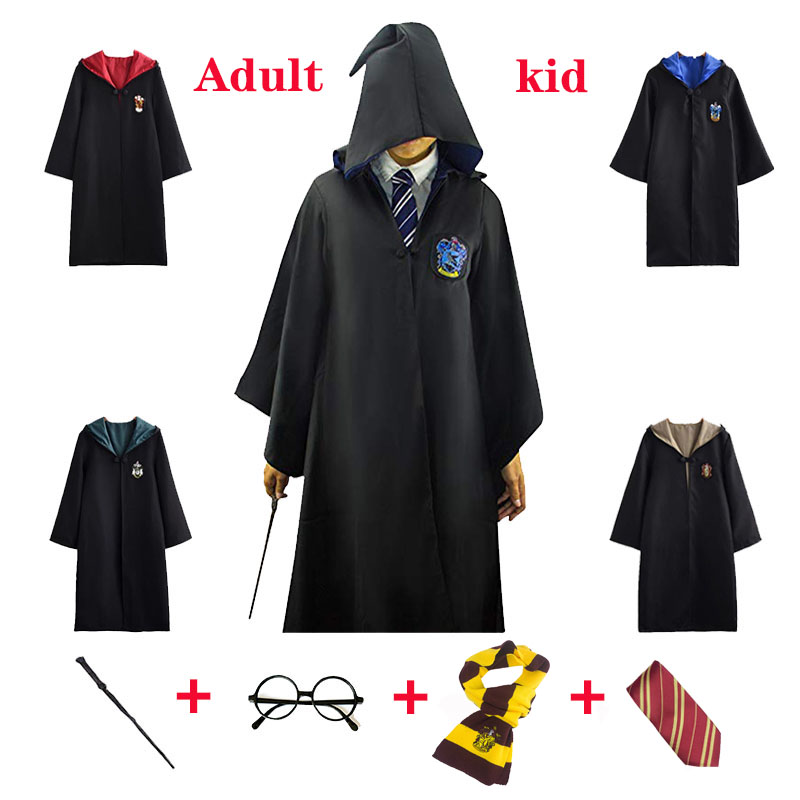 Robe Cloak Cosplay Four Colleges Gryffindor Ravenclaw Hufflepucci Slytherin Adult Kid  Halloween Costume