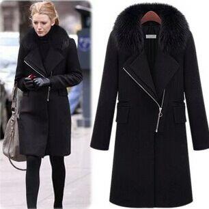 466e695a46 winter coat women winter dress faux fur collar long brand wool coat woolen  cloth coat lady's coat blake black long WT02
