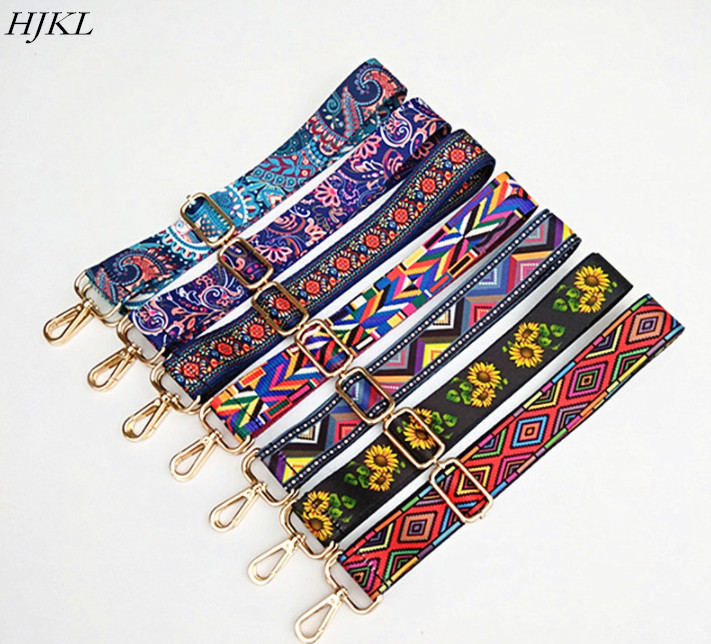HJKL Nylon Colored Belt Bags Strap Accessories For Women Rainbow Adjustable Shoulder Hanger Handbag Straps Decorative Chain Bag(China)