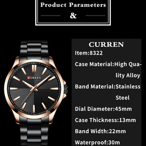Image 2 - CURREN Watches Men Fashion Watch 2019 Luxury Stainless Steel Band Reloj Wristwatch Business Clock Waterproof  Relogio Masculino