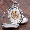 Простой Дизайн двойной полный охотник Механические Карманные Часы для Женщин Мужчины Стимпанк Часы с Цепочкой P850C
