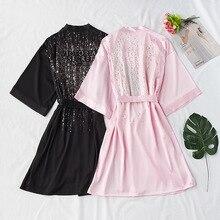 ผ้าซาตินฤดูร้อน gilded Nightgown เซ็กซี่เจ้าสาวแต่งงาน Bridesmaid Robe ผู้หญิง Kimono เสื้อคลุมอาบน้ำ Lounge Dressing ชุด Nightdress