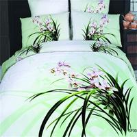 100 Cotton 3d Orchid Bedroom Textile 4 Pieces Chinese Painting Flowers Bedding Sets Queen Size Quilt