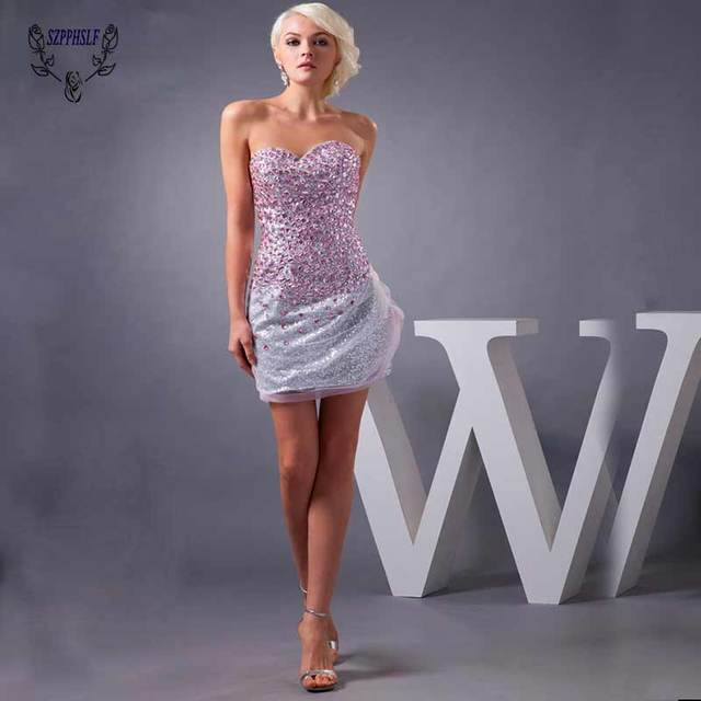 efdba9ae7ee91 US $200.0 |Free Shipping High Quality Real Sample Sexy sweetheart Full  Crystal Mini short Cocktail Dress silver sequined fabric girl dress-in  Cocktail ...
