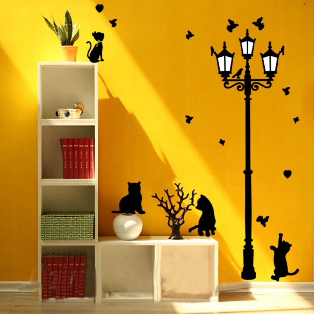 New Hot Naughty Cats Birds and Street light Lamp Post Wall Stickers ...