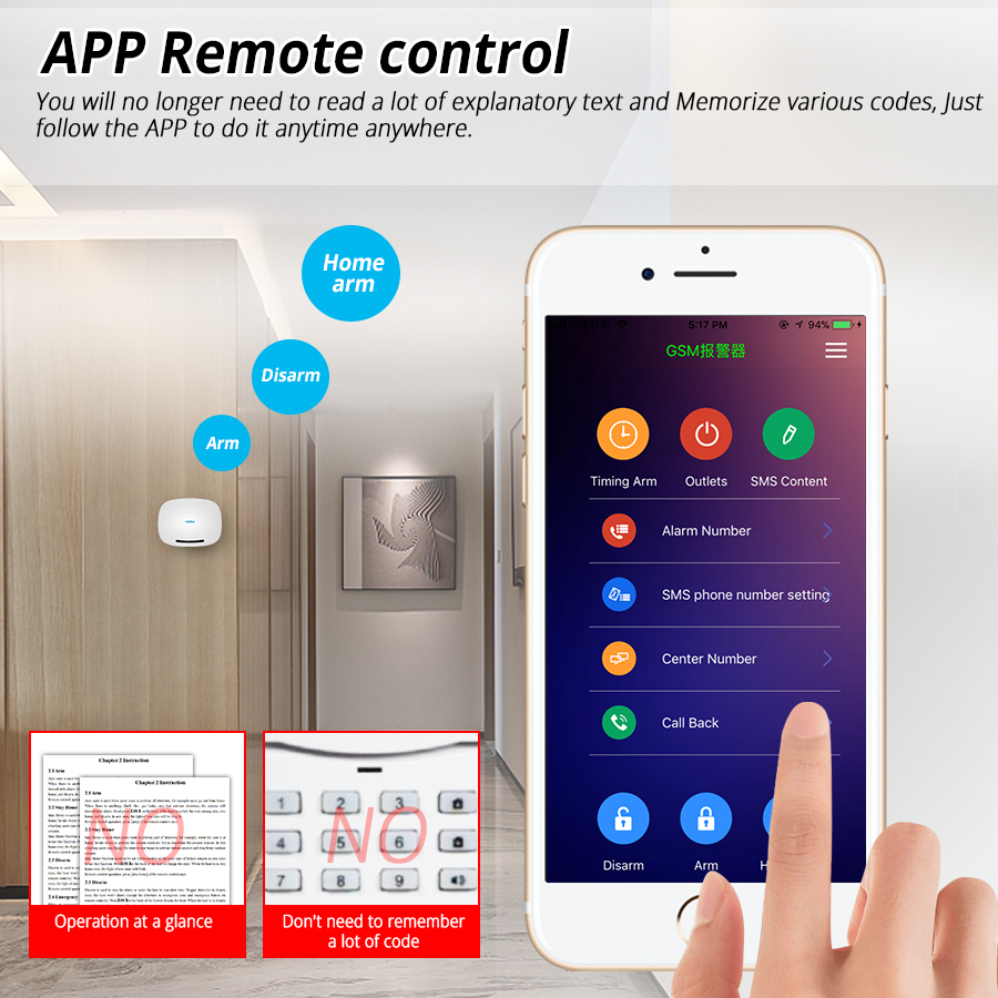 Image 3 - KERUI W19 Wireless Phone APP Remote Control Message Push Auto Dial Home Security GSM Alarm System with IP Camera Solar Siren Kit-in Alarm System Kits from Security & Protection