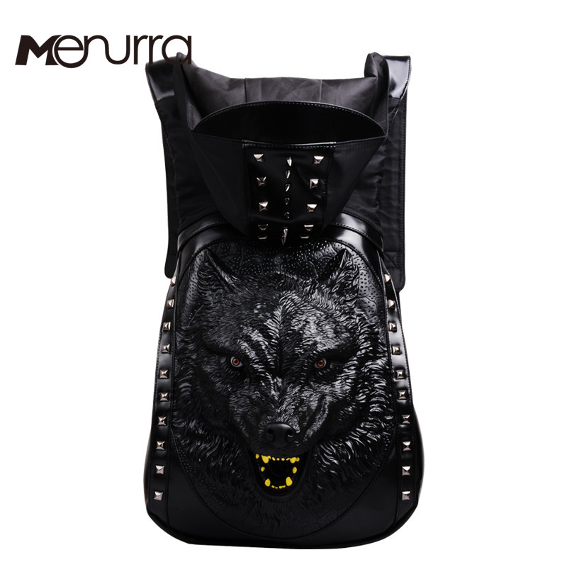 ФОТО 2016 Fashion Personality 3D skull Wolf leather backpack rivets skull backpack with Hood cap apparel bag cross bags hiphop man
