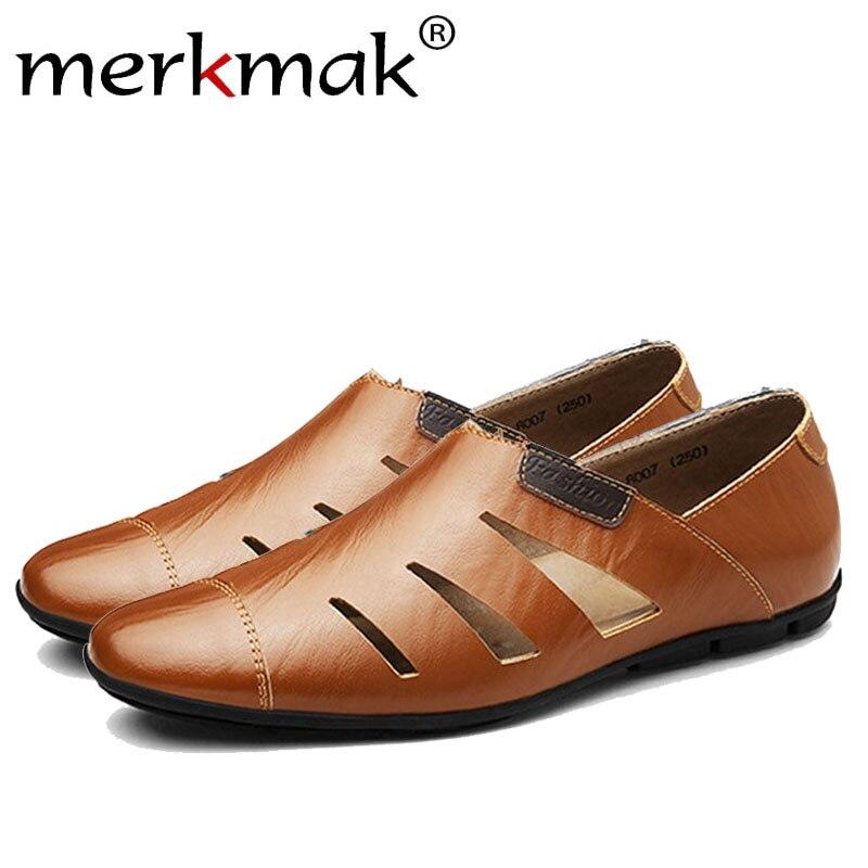 Merkmak À La Main En Cuir Véritable Hommes Mocassins Chaussures Souples Casual Marque Confortable Automne Hiver Chaud Fourrure Glissement Homme Appartements Chaussures