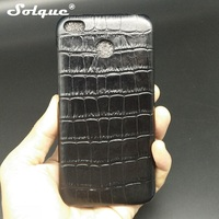 Solque Real Genuine Cow Leather Cover Case For Xiaomi Redmi 4X Cell Phone Luxury 3D Crocodile