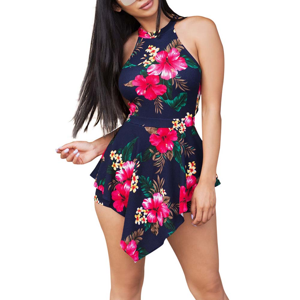 New Floral Printed Ruffle Rompers Women Asymmetrical Sleeveless Playsuit Sexy Halter Neck Waist Jumpsuit Sexy Backless Overalls