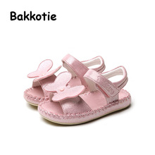 Bakkotie 2017 New Fashion Children Summer Baby Casual Leisure Flats kid Brand Sweet Girl Princess Shoes Pink Butterfly Sandals