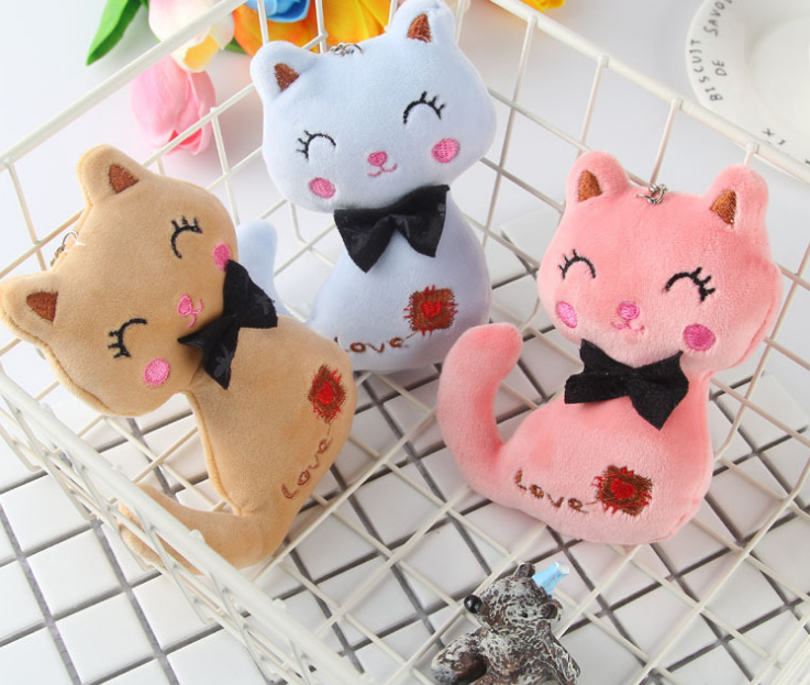 Animal Stuffed Kitty Cat Key chain TOY 6