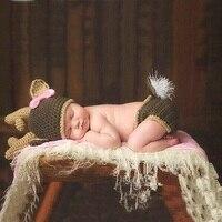 Bebek Bebek Kız Sevimli Tığ Noel Geyik Şapka + Pantolon Fotoğrafçılık Dikmeler giyim Giysi Yenidoğan Bebek Doğum Günü Fotoğraf Çekimi Sahne
