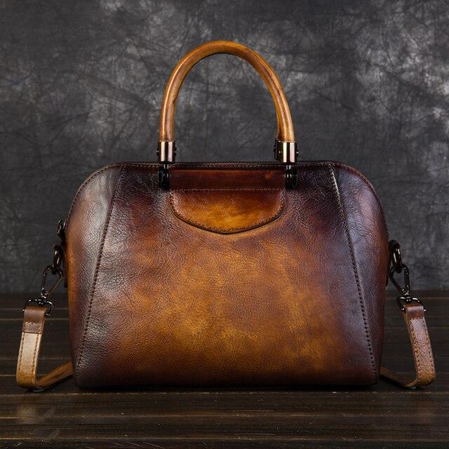 High Quality Women Genuine Leather Messenger Top Handle Bag Real Cowhide Retro Pillow Handbag Cross Body Shoulder Tote Bags