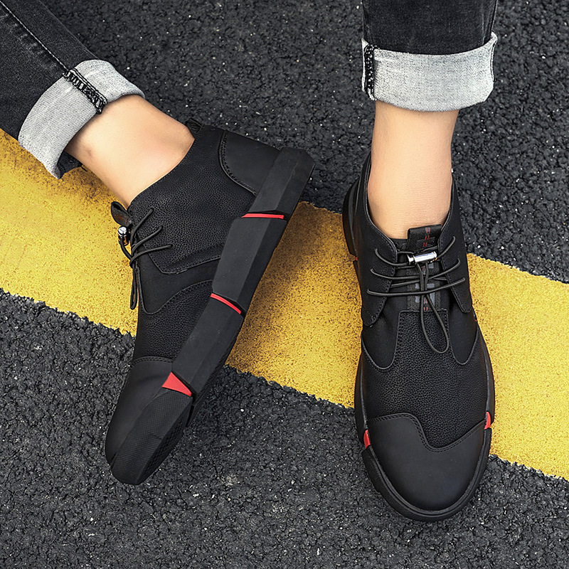 2019 BIG SIZE NEW Brand High quality all Black Men's leather casual shoes Fashion Sneakers flats Oxfords Shoes For Men tyu78