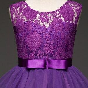 Image 4 - JaneyGao robes de fille à fleurs pour la fête de mariage longue Style adolescente robe première Communion Pageant robes blanc violet chaude