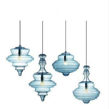 Glas Hanglamp Nordic Lichten Led Opknoping E27 220 V Decor Crystal Blue Ontwerp Woon-en Eetkamer Armaturen Designer Bar