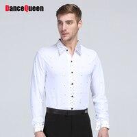 Men Boy S Latin Clothing Dance Shirt Classical Latin Ballroom Dancing Suit Wear White Colors Tops